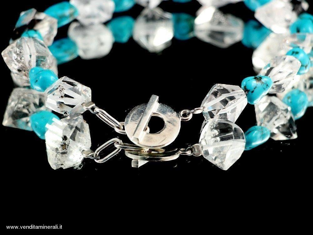 Turchese con diamante Herkimer