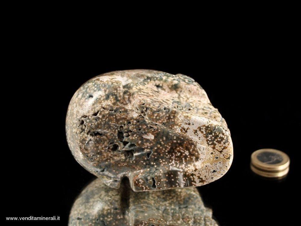 Teschio di cristallo - unico dal calcedonio oceanico