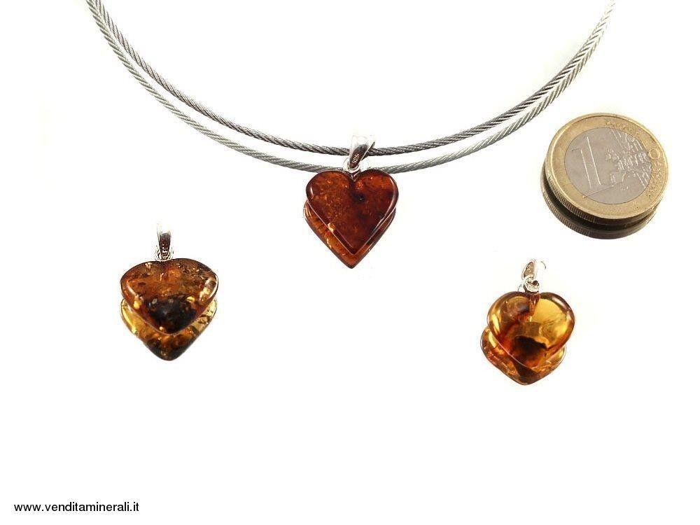 Cuore d'ambrato con argento 925