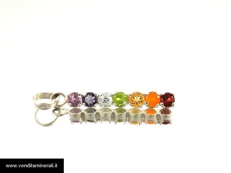 Ciondolo con pietre sfaccettate multicolore - argento 925