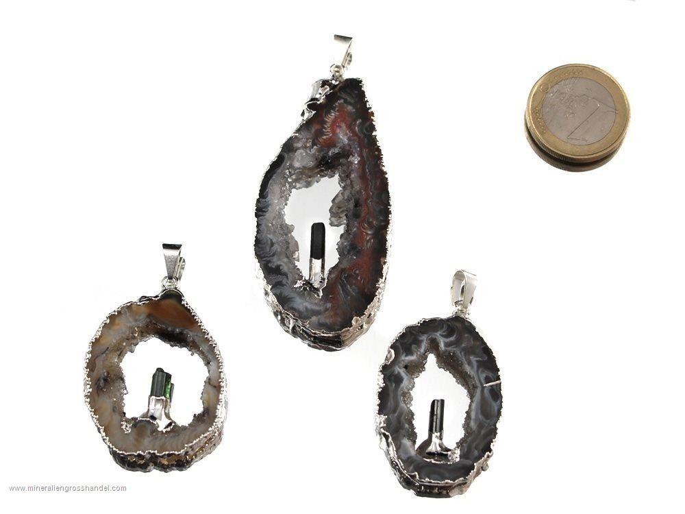 Ciondolo in agata con cristallo di tormalina - argento