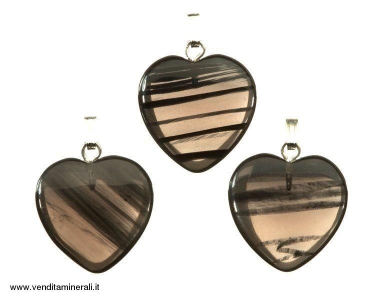 Cuore di ossidiana lamellare con argento - 10 pezzi