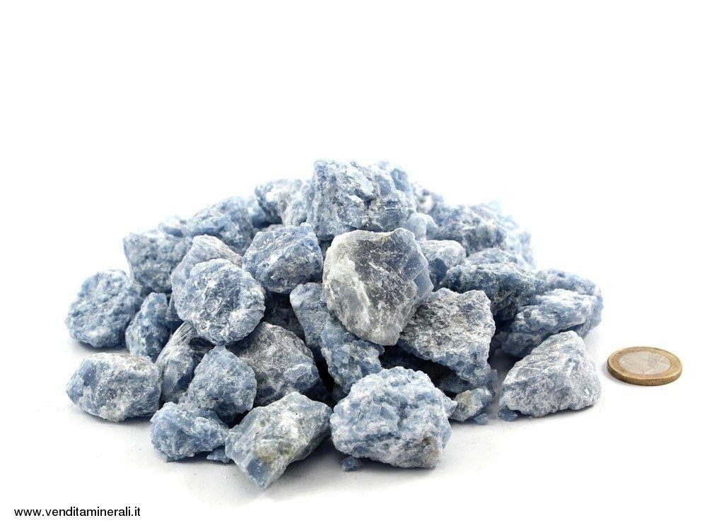 Calcite blu chiaro piccole pietre grezze (2 4 cm) 1 kg