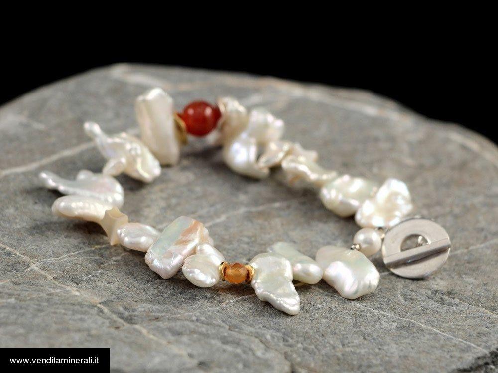 Perle d'acqua dolce con corniola