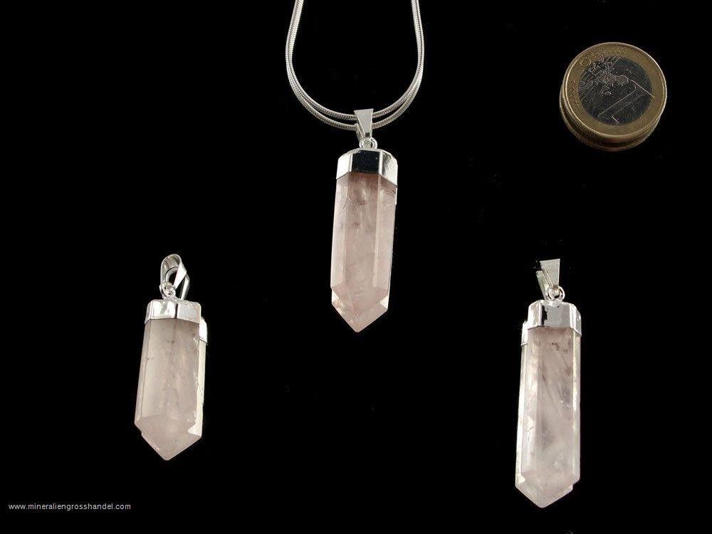 Punta al quarzo rosa con montatura in argento - 1 pezzo
