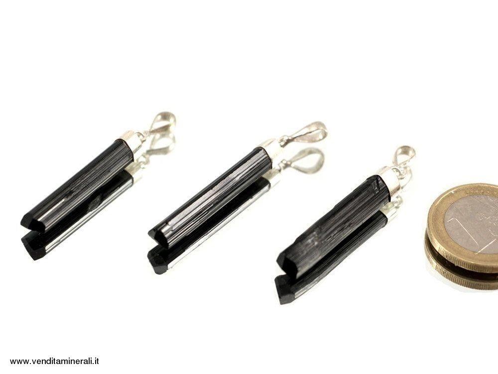 Ciondolo tormalina nera argento 925
