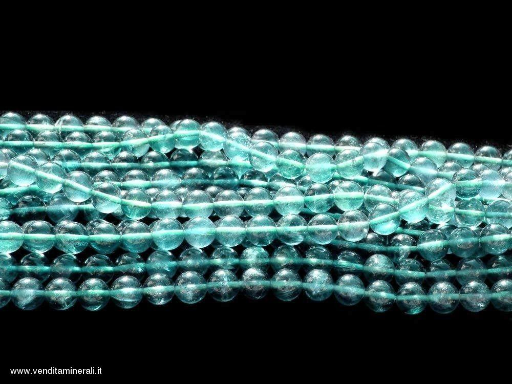 Filo a catena di sfere di fluorite blu / verde 10 mm