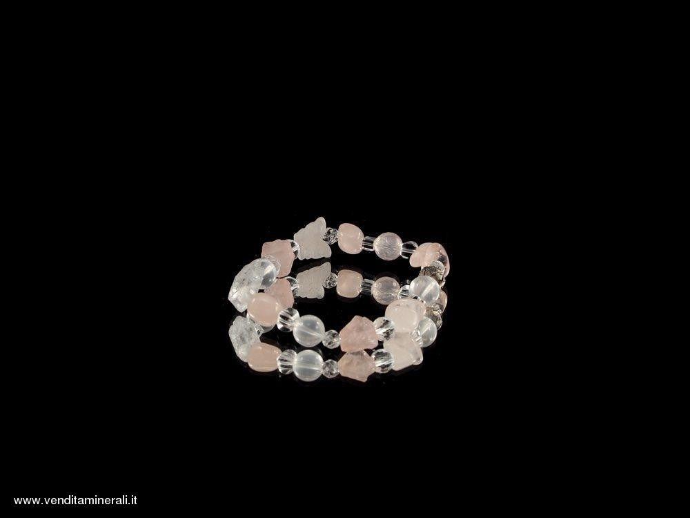 Bracciale al quarzo rosa con perle