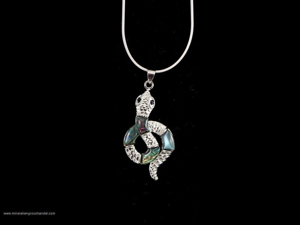Ciondolo serpente - conchiglia abalone