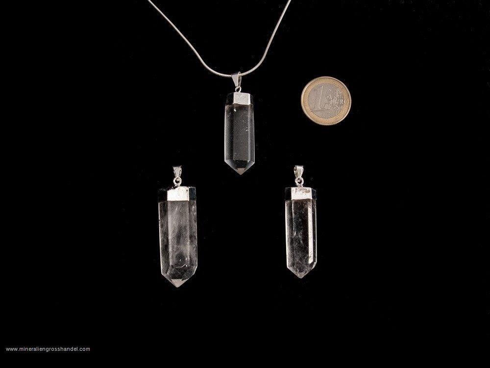 Cristallo di rocca cristallino con gancio argento / oro 1 pezzo