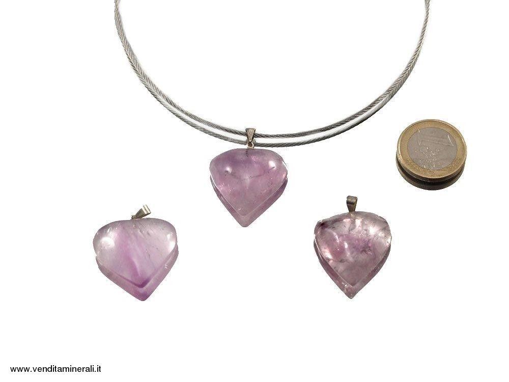 Ciondolo cuore ametista con argento 925 - 1 pezzo