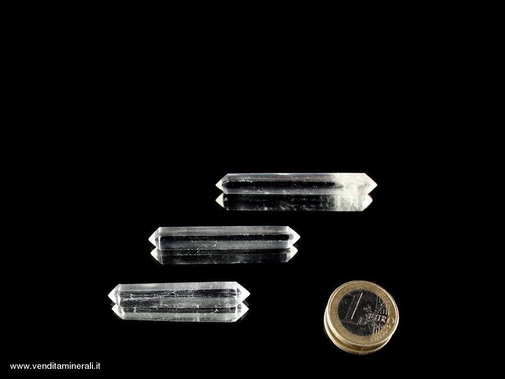 Doppia estremità in cristallo di rocca lucidato 4 - 5 cm