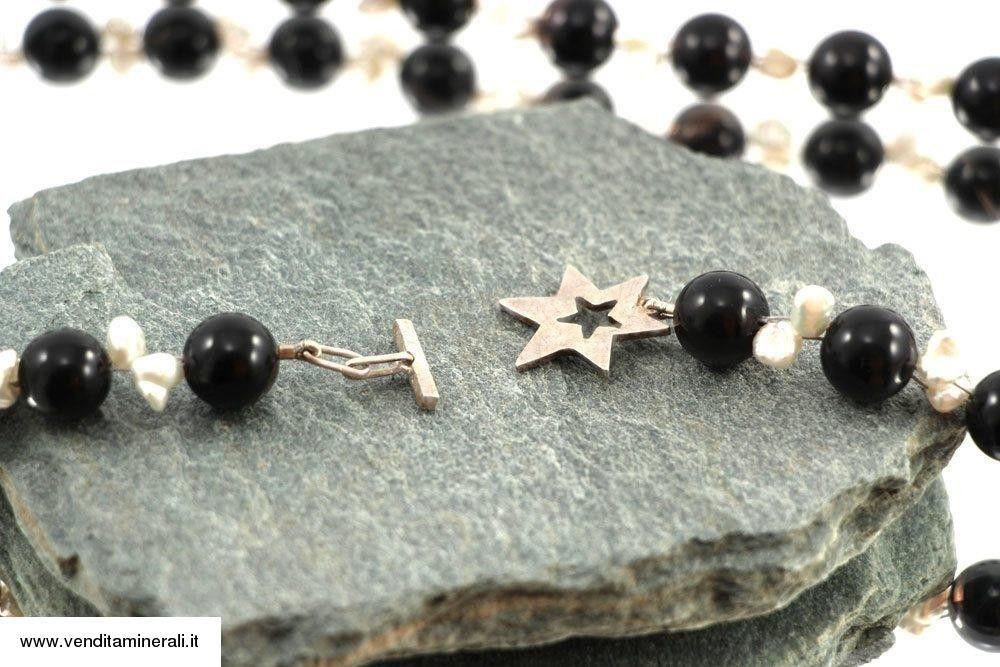 Ossidiana lamellare con perle