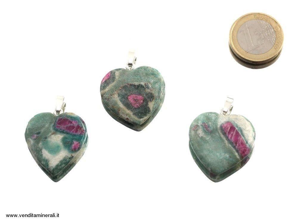 Ciondolo cuore rubino in Fuchsite - Argento 925