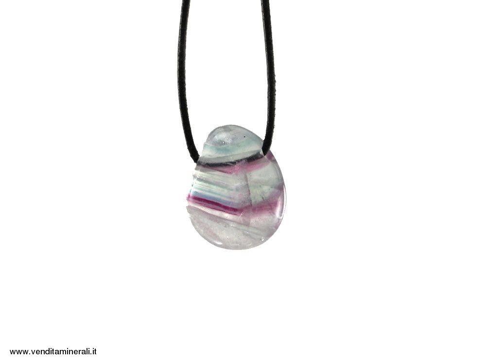 Ciondolo a goccia di fluorite (multicolore)