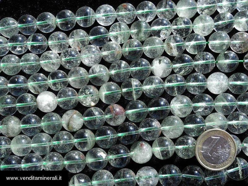 """Cristallo di rocca - filo a sfera da 13 mm """"inclusione verde"""""""