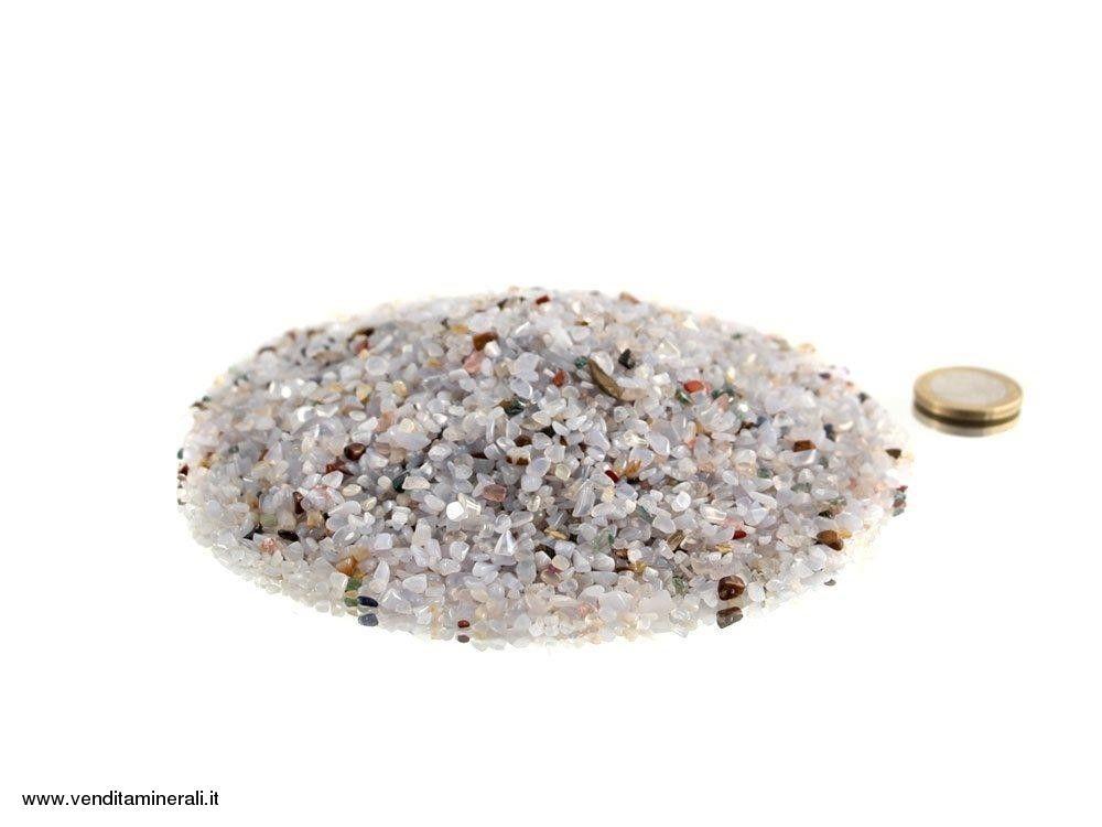 Calcedonio in micro pietre martellate blu 0,5 kg