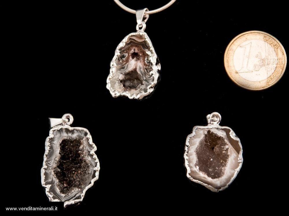 Geode ciondolo argentato - 1 pezzo
