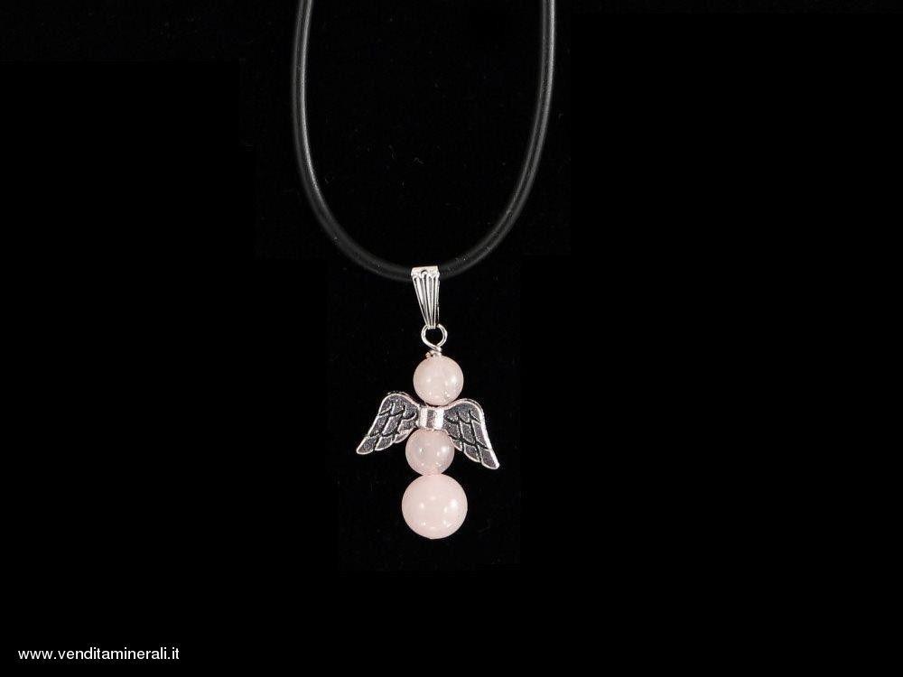 Ciondolo: Angelo di quarzo rosa con ali in argento
