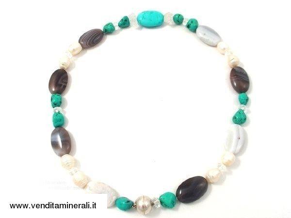 Collana in agata perla turchese