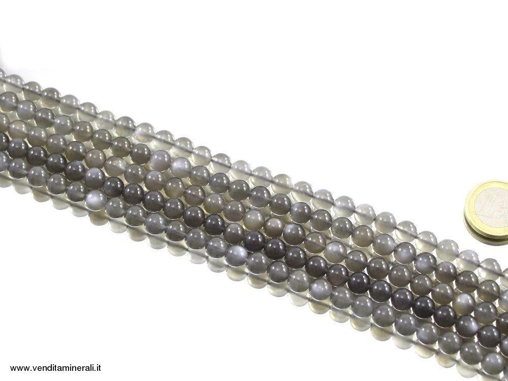 Filo catena di pietre di luna - antracite 8 mm