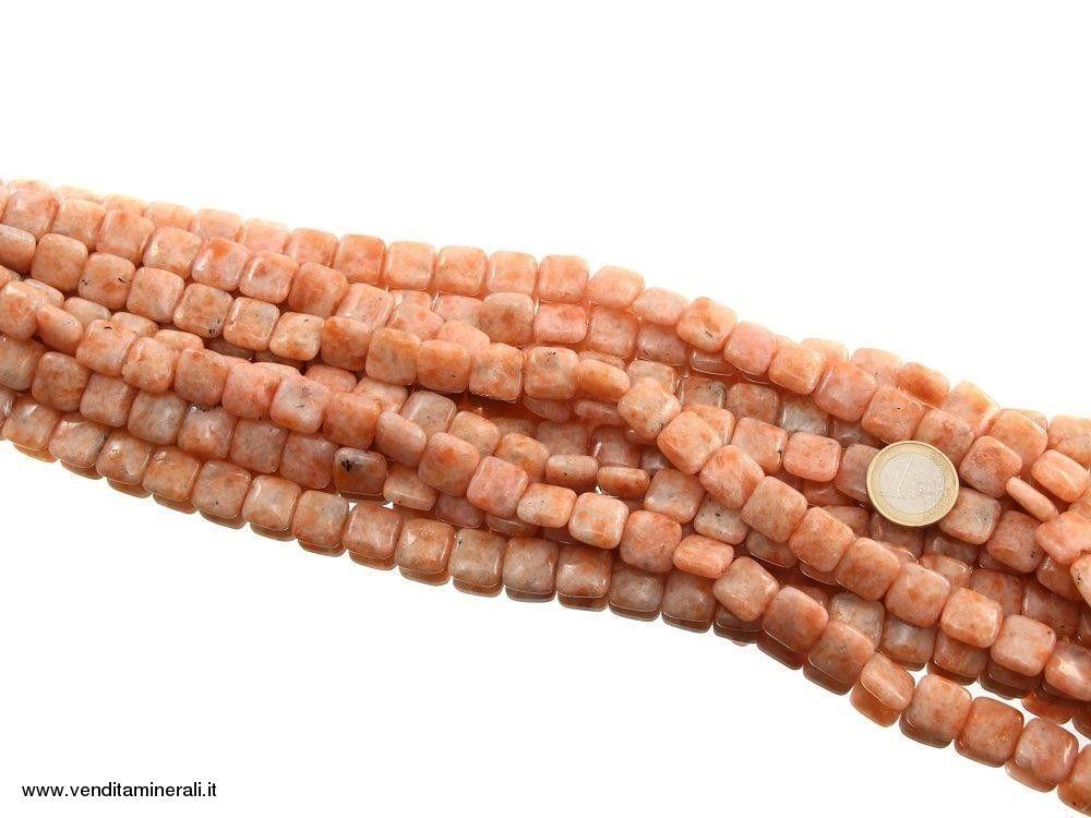 Filo di catena cubo di pietra del sole   Minerali Gioielli Collane ...