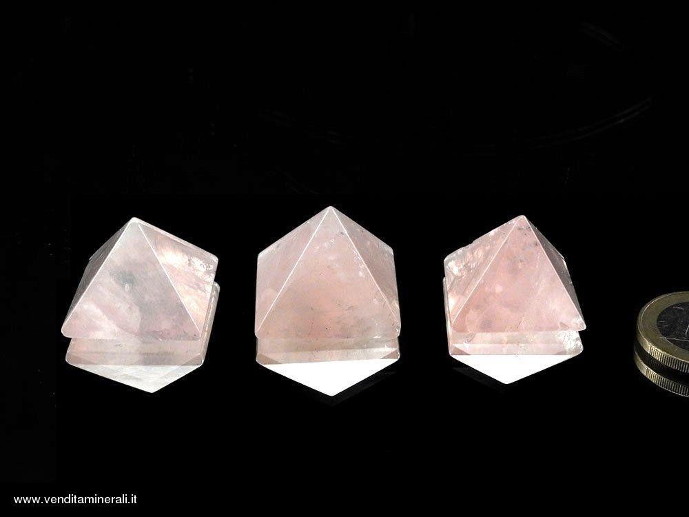 Mini Piramidi di Quarzo Rosa 1pz