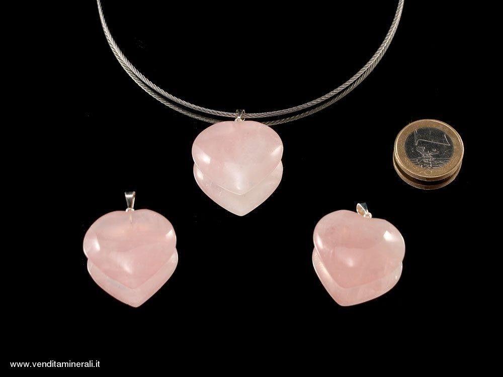 Ciondolo in quarzo rosa con argento 925 - 1 pezzo