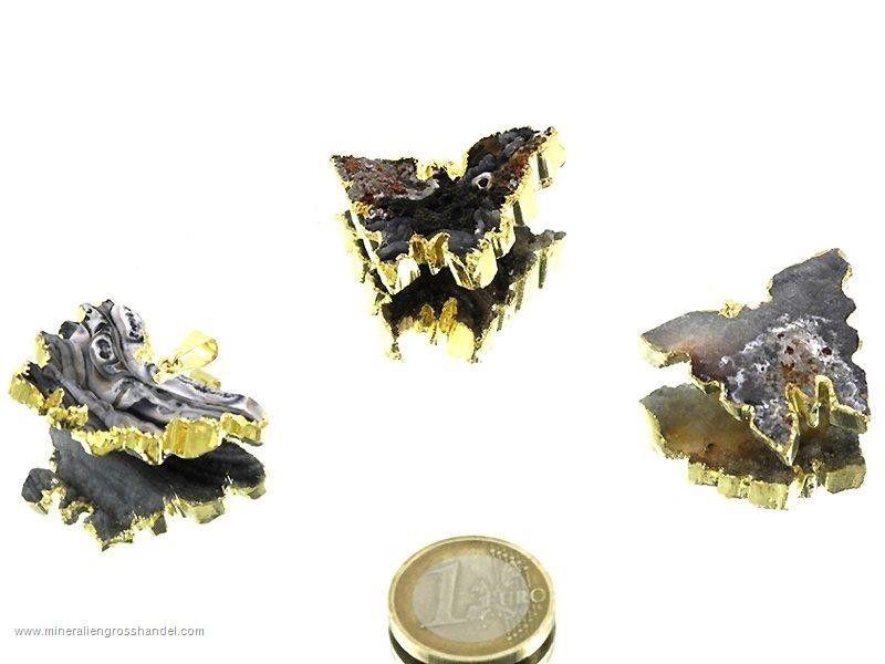 Ciondolo farfalla agata serpente argento / oro