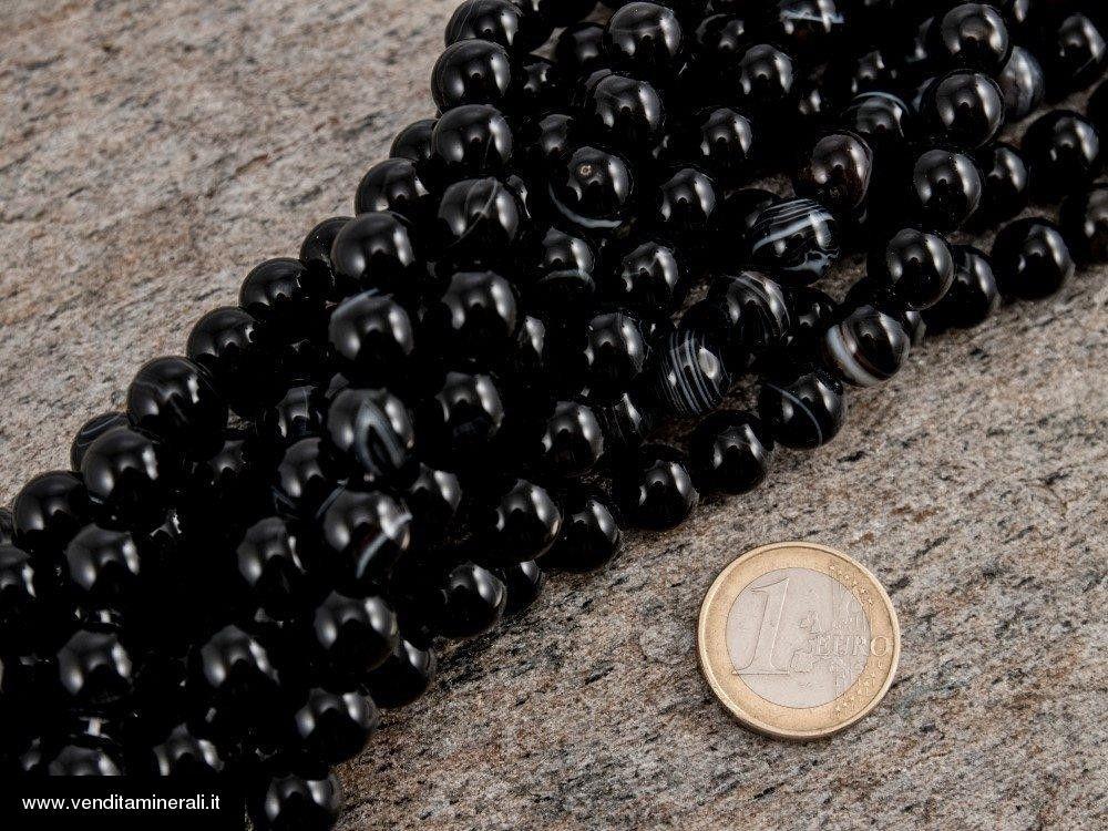 Filo a catena in onice da 10 mm nero / bianco
