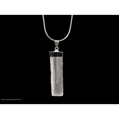 Ciondolo in selenite - montatura in argento
