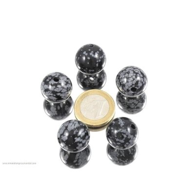 Palla di bronzo ossidiana 18 mm perforata - 1 pezzo