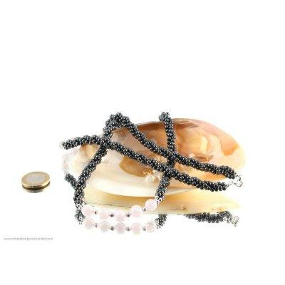 Tripla catena a sfere di ferro con sfere di quarzo rosa da 10 mm