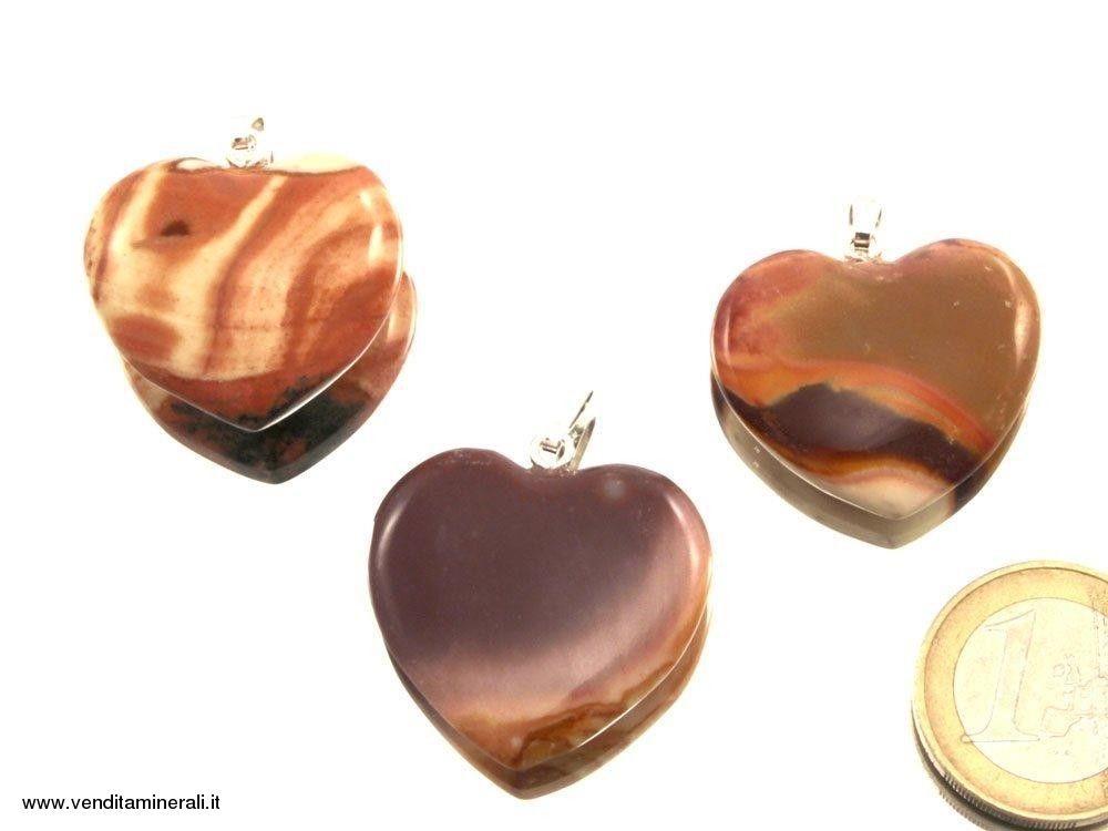 Ciondolo a cuore in diaspro policromico e argento 925