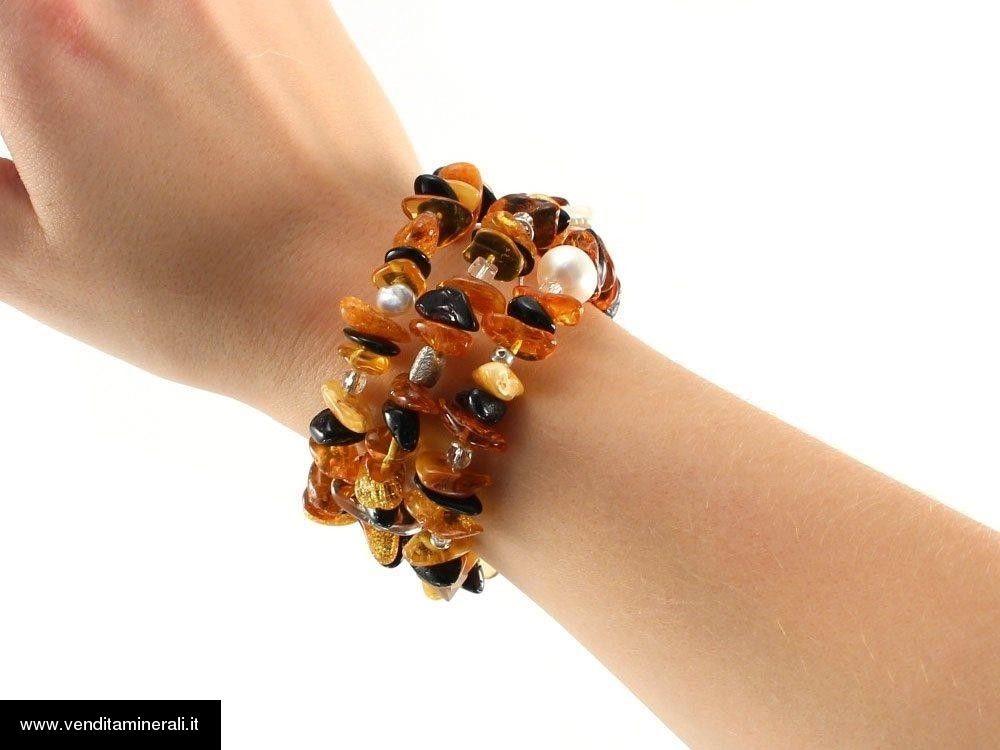 Bracciale in ambra con perle