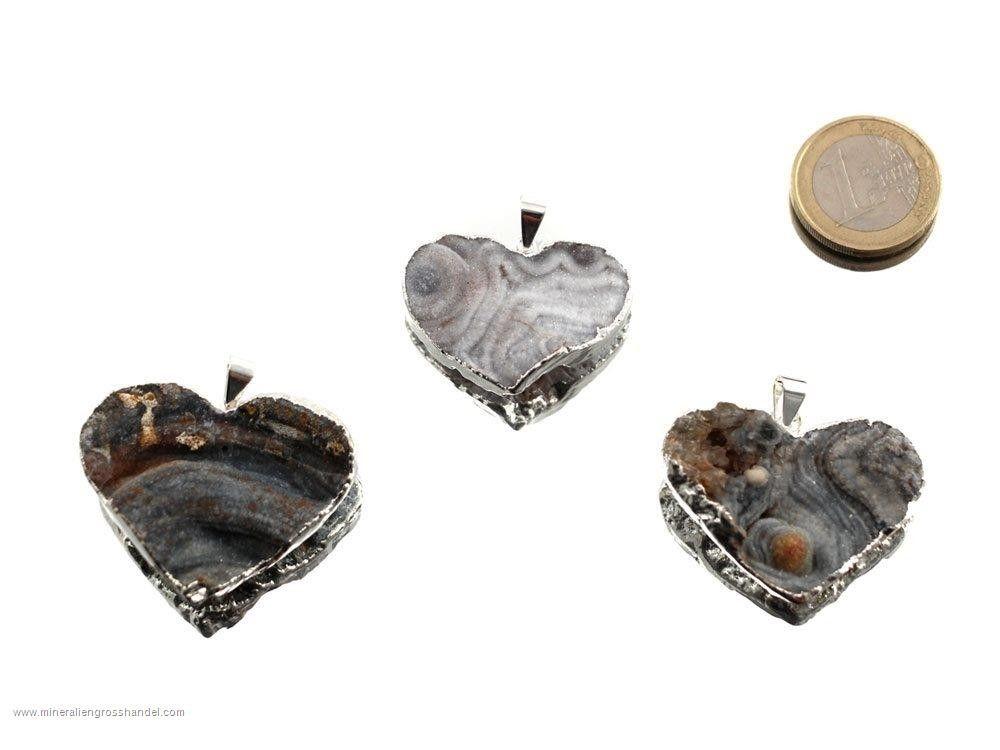 Ciondolo cuore in agata serpente argento / oro