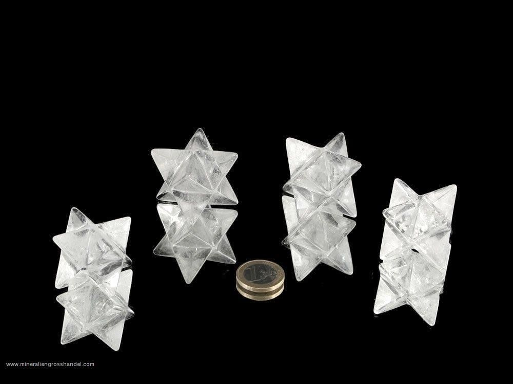 Cristalllo di rocca a forma di Merkaba ca. 3 cm