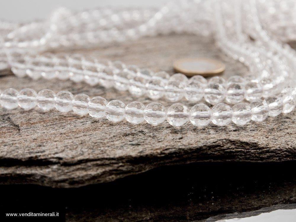 Sfere sfaccettate in cristallo di rocca da 8 mm di catena