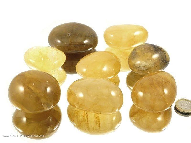 Ciottoli di quarzo giallo / pietre burattate XL 0,5 kg