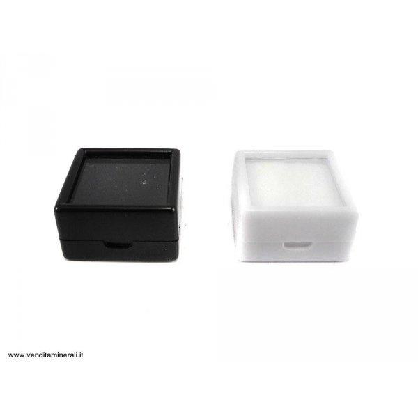 Scrigno per pietre preziose in vetro 3x3 - bianco / nero