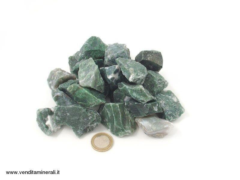 Agata di muschio - piccole pietre grezze (2-5 cm) - 1 kg