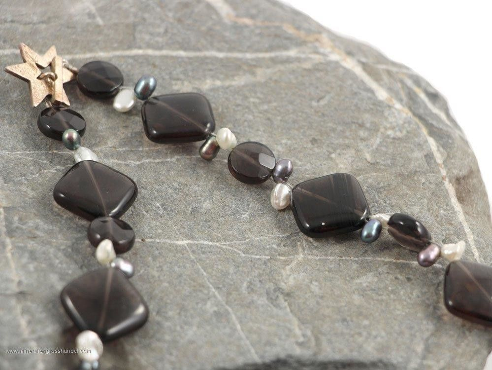 Lamelle d'Ossidiana - collana di perle d'acqua dolce