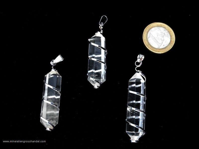 Doppio pendente in cristallo di rocca con spirale
