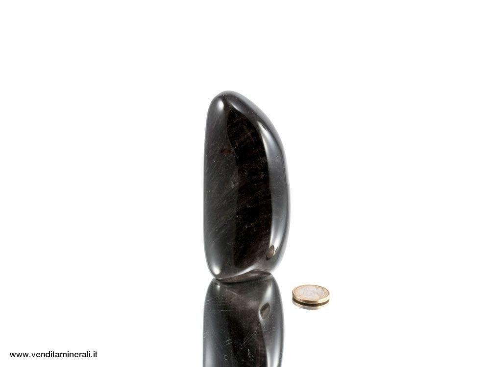Scultura in argento ossidiana a forma libera
