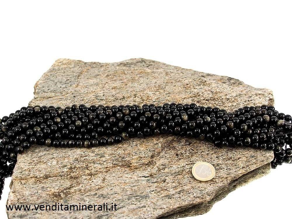 Collana di Ossidiana e inserti d'oro con pietre da 8 mm di diametro