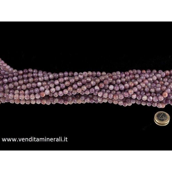 Collana di lepidolite con tormalina, pietre da 8 mm di diametro