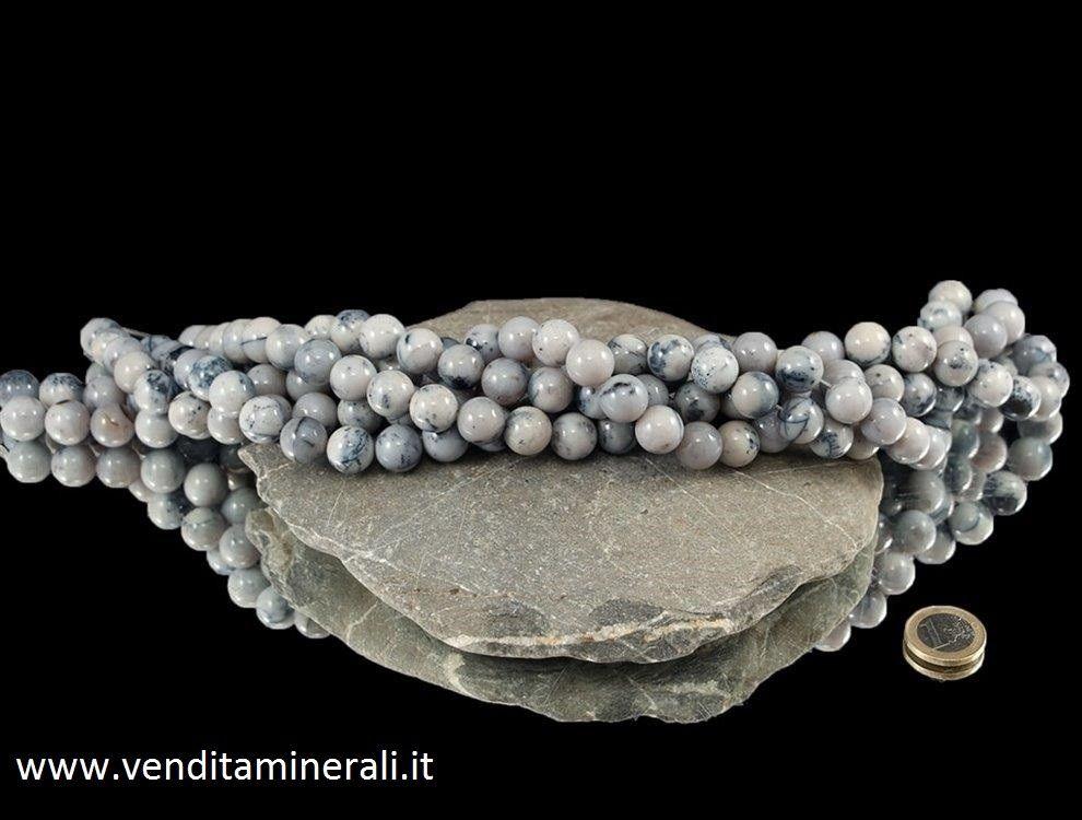 Collana di agata dendritica con pietre da 12 mm di diametro