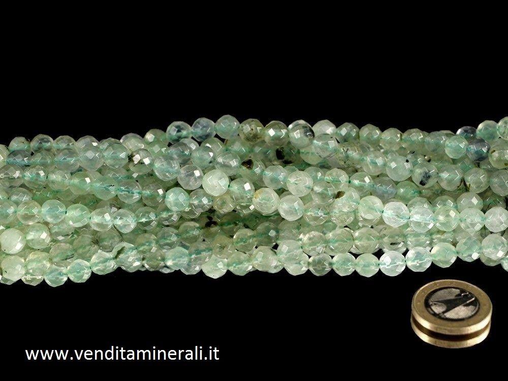 Collana di prenite con sfere sfaccettate da 10 mm di diametro