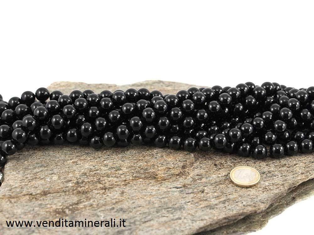 Collana con sfere nere in tormalina da 12 mm