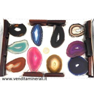 Pietre di agata con base in legno - 10 pezzi
